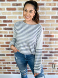 Easel top Soft Blue Striped Top