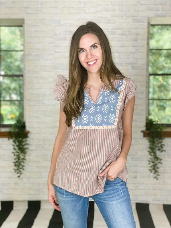 Entro Top Striped Aztec Top