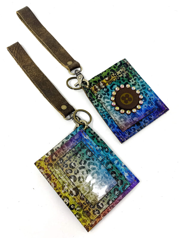 Keep It Gypsy Accessories Rainbow Cheetah Upcycled LV Wristlet ID Holder