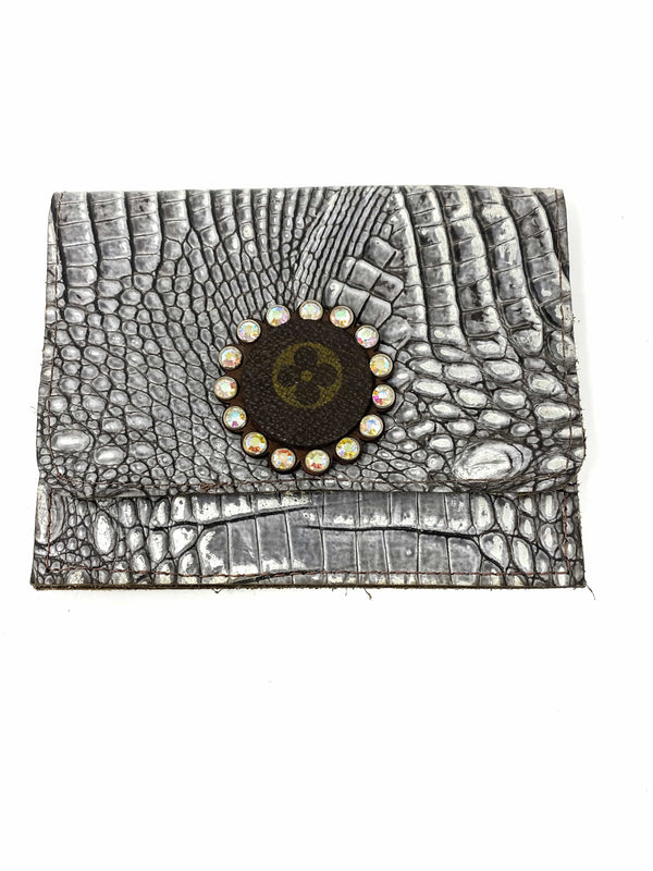 Keep It Gypsy Accessories Silver Croc Upcycled LV Flora Wallet