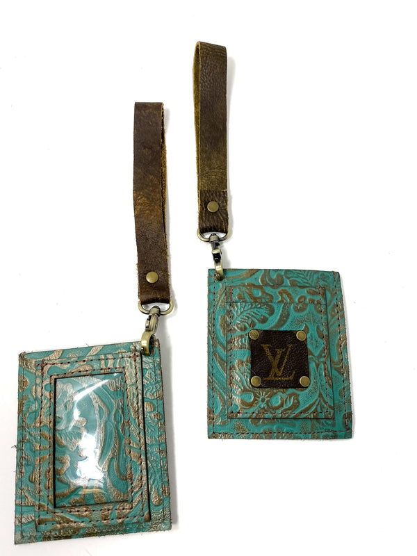 Keep It Gypsy Accessories Turquoise Scroll Upcycled LV Wristlet ID Holder