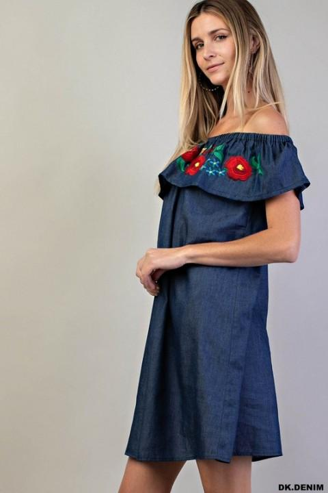 Kori America Dress Embroidered Ruffle Denim Dress