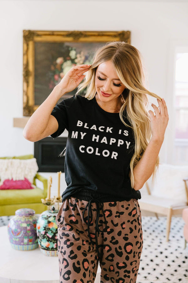 Mycot Style Womens Copy of Black Is My Happy Color Graphic Tee