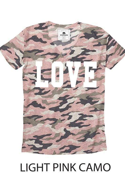 Reflex Trading Top Love & Camo V Neck Top