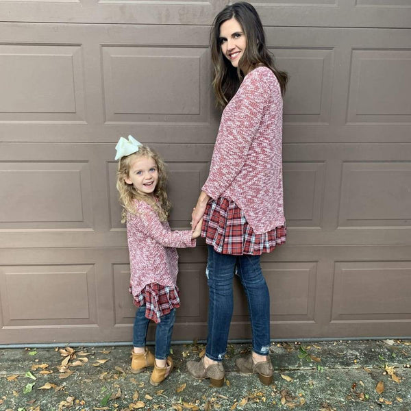Sassy Bling Top Mommy & Me Crimson Plaid Sweater Tunic