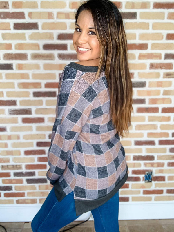 Sew in Love Top Hip to Be a Square Plaid Top