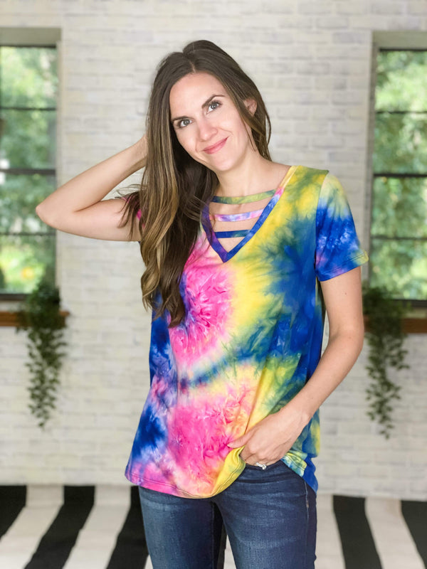 Sew In Love tops Jeweled Tie Dye Top