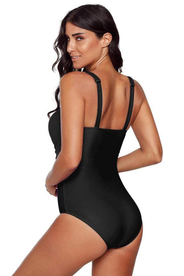 Shewin Swimsuit Black Criss-Cross One-Piece Swimsuit *Final Sale*