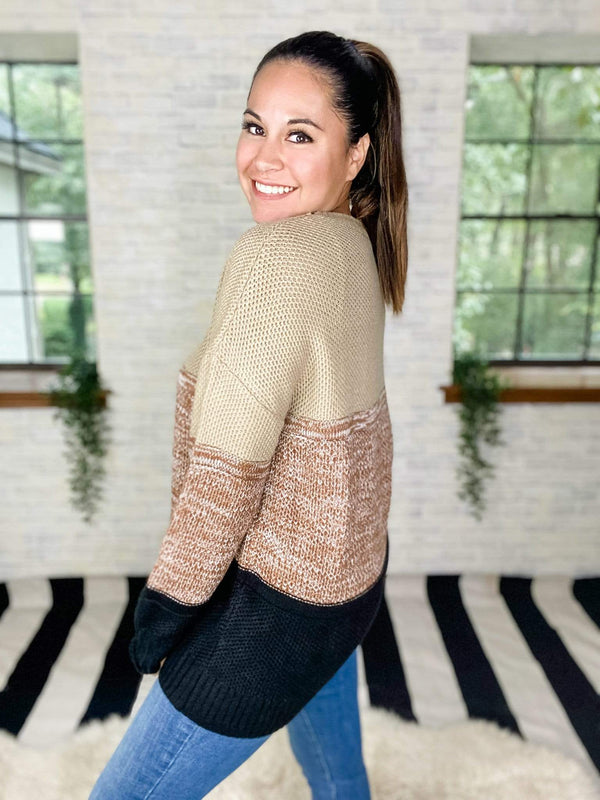 Shewin top Nothing Like Neutral Colorblock sweater