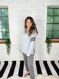 White Birch Set Lounging Leopard Grey Jogger Set