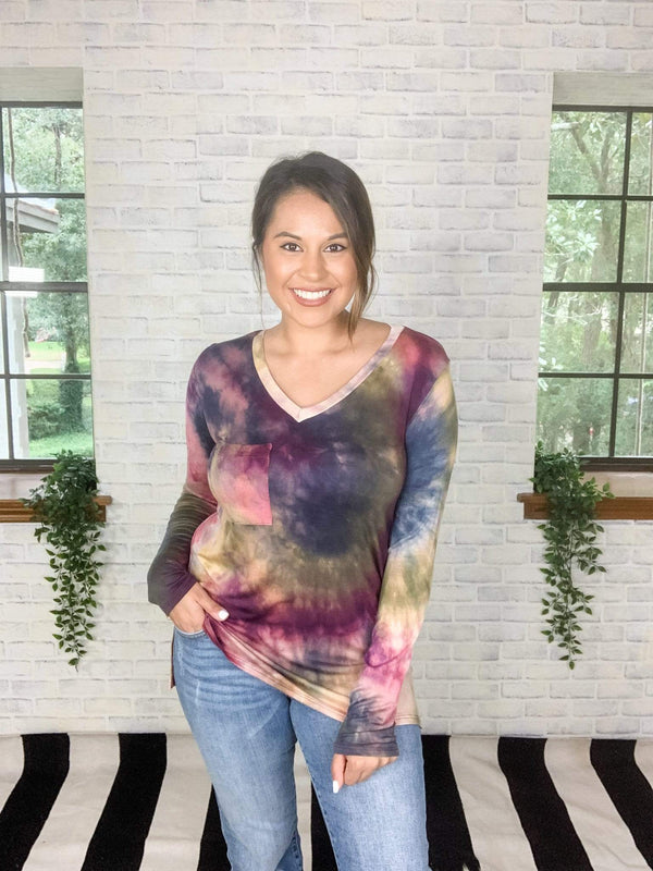 White Birch Top All The Fall Tie Dye Long Sleeve Top