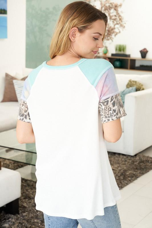 White Birch Top Cheetah & Tie Dye Top