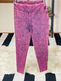 Zenana bottoms Plum / 1X Mineral Wash Leggings