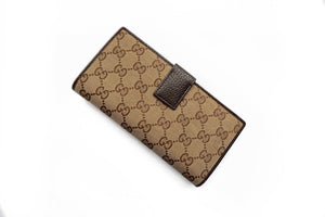 Gucci Monogram Engraved Metal Plate Continental Wallet