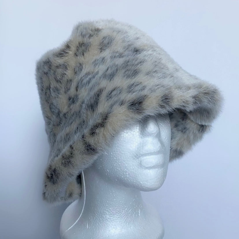 Leopard Faux Fur 'GREVI' Bucket Hat Made In Italy