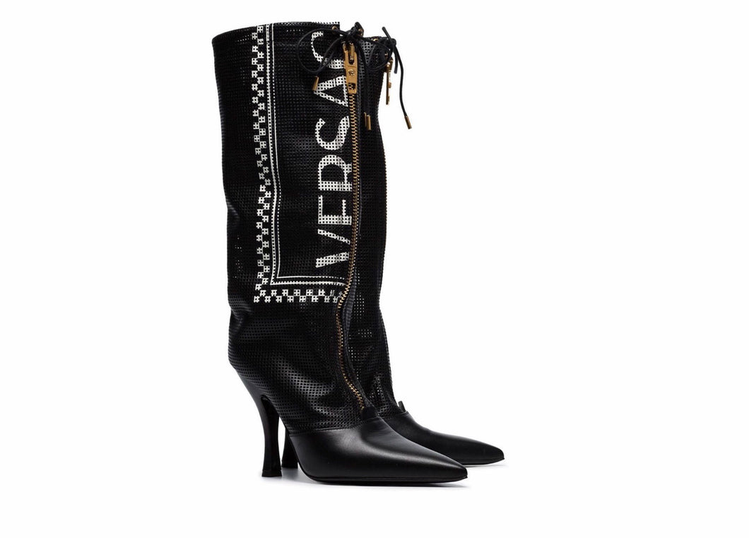 Versace 105 Logo Leather Boots