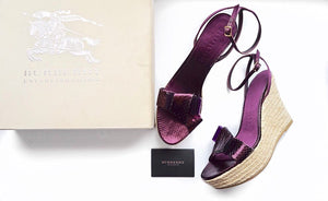 Burberry Snakeskin Perspex Bow Espadrille Wedges
