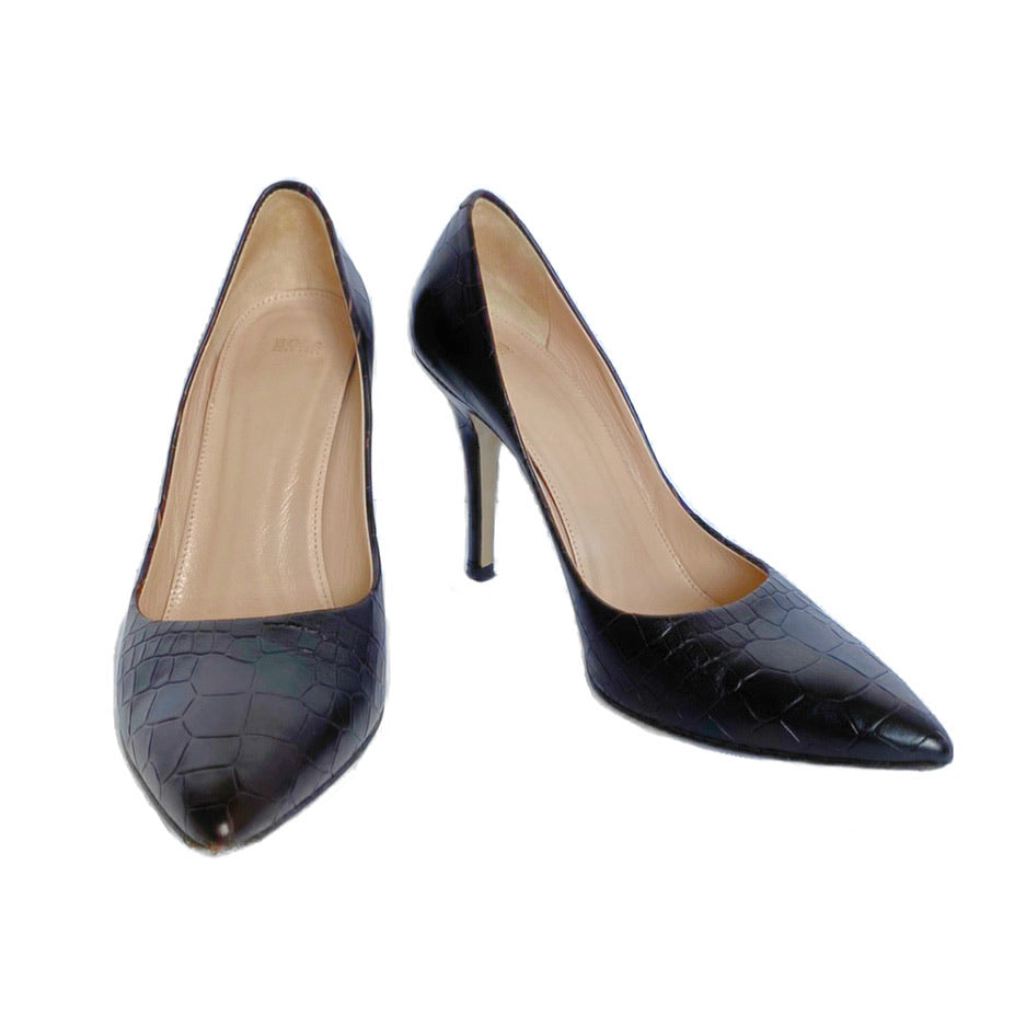 Hugo BOSS Embossed Croc Pattern Court Pumps (37.5)