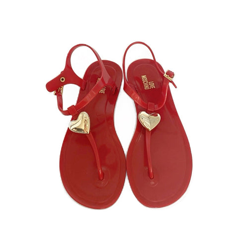 "Moschino ""Love Moschino"" Gold Heart Sandals (36.5)"