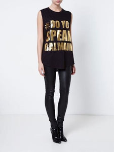 Balmain #Do You Speak Balmain Sleeveless Top