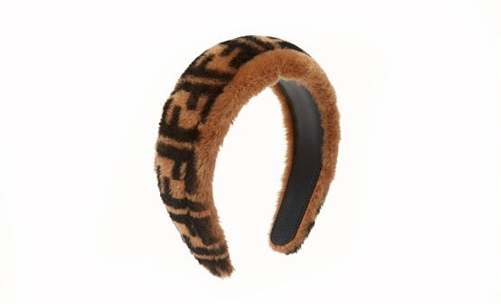 Fendi All Over Logo Shearling Headband