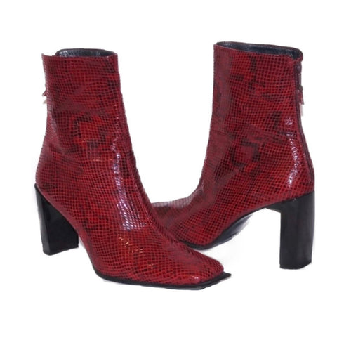 Stuart Weitzman Square-Toe Red Snakeskin Heeled Boots
