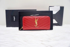 Saint Laurent YSL Monogram Zip Around Wallet