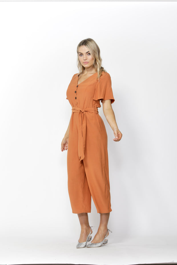 Save The World Burnt Orange Jumpsuit