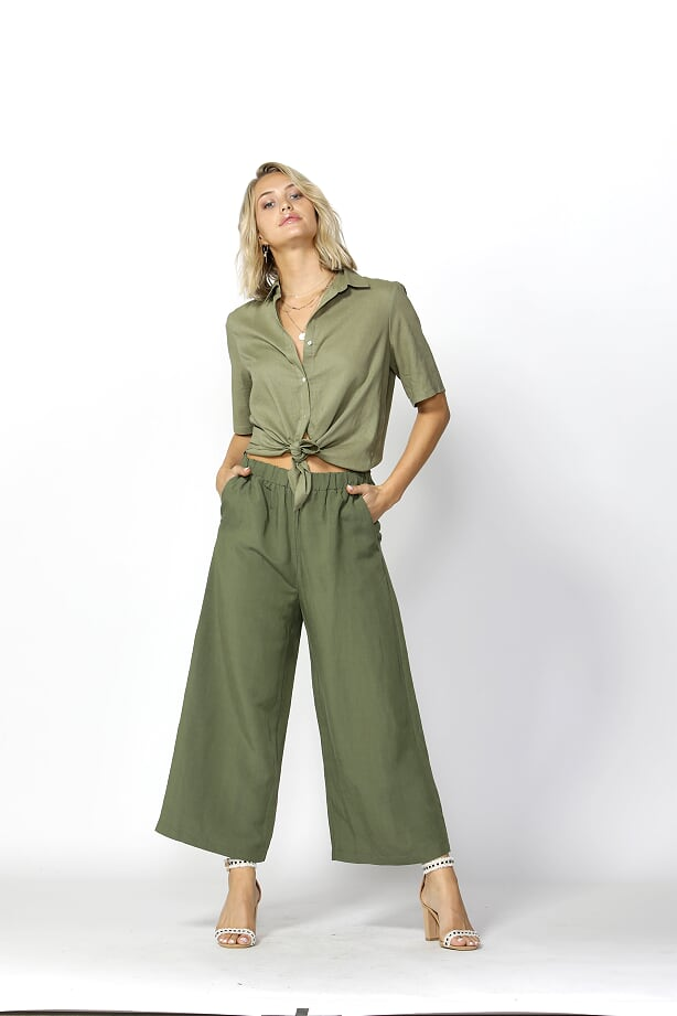 Sea Ya Wide Leg Pant Khaki