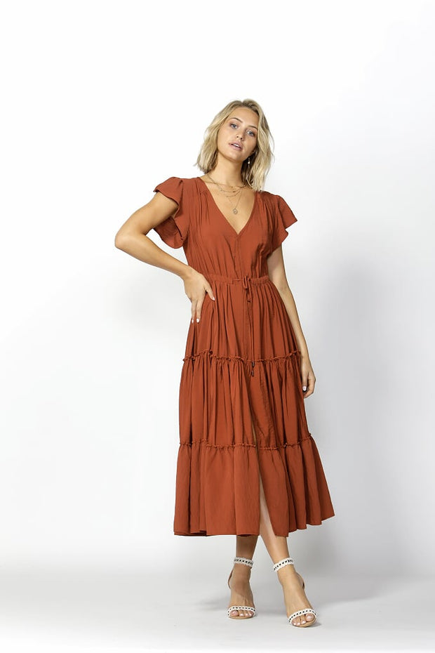Love Game Maxi Dress Warm Ginger