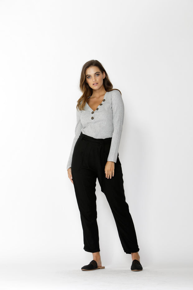 Into The Wild Belted Pant Black