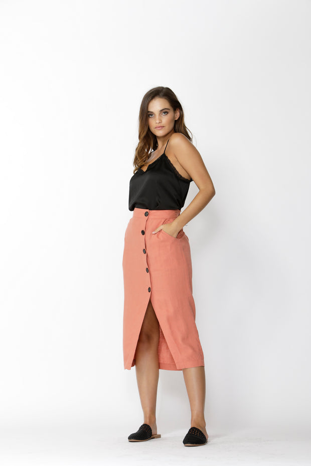 Into The Wild Buttoned Skirt Amber