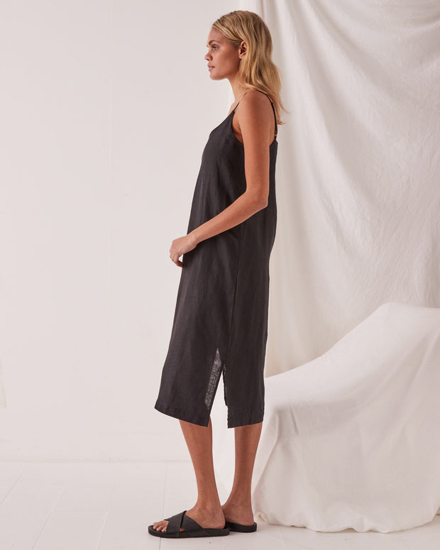Linen Slip Dress Black