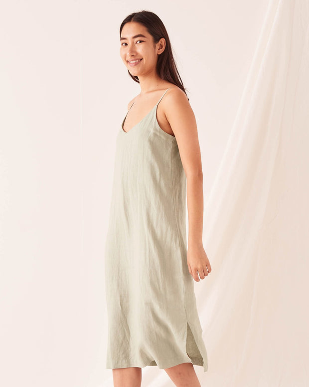 Linen Slip Dress Soft Green