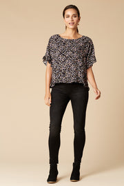 Margaux Frill Top - Onyx Speck