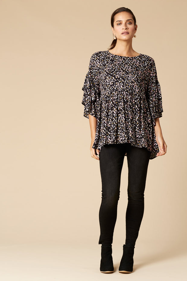 Margaux Tunic Top-Onyx Speck