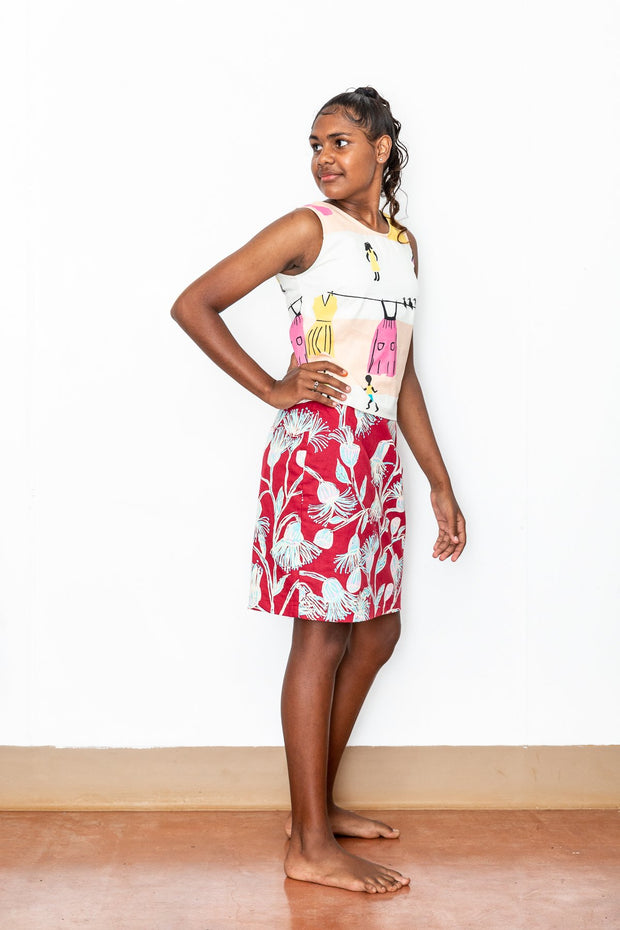 Babatha Ngangna (Gum Flowers) Pencil Skirt