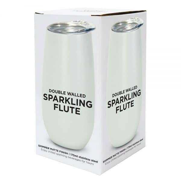 Sparkling Flute - Double Walled - Stainless Steel - Pearl - Shimmer Matte