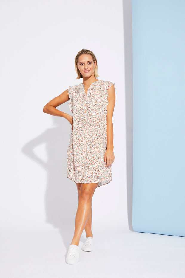 Riviera Dress White Posy