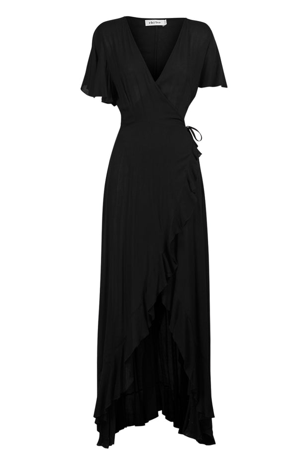 Savannah Wrap Dress Black