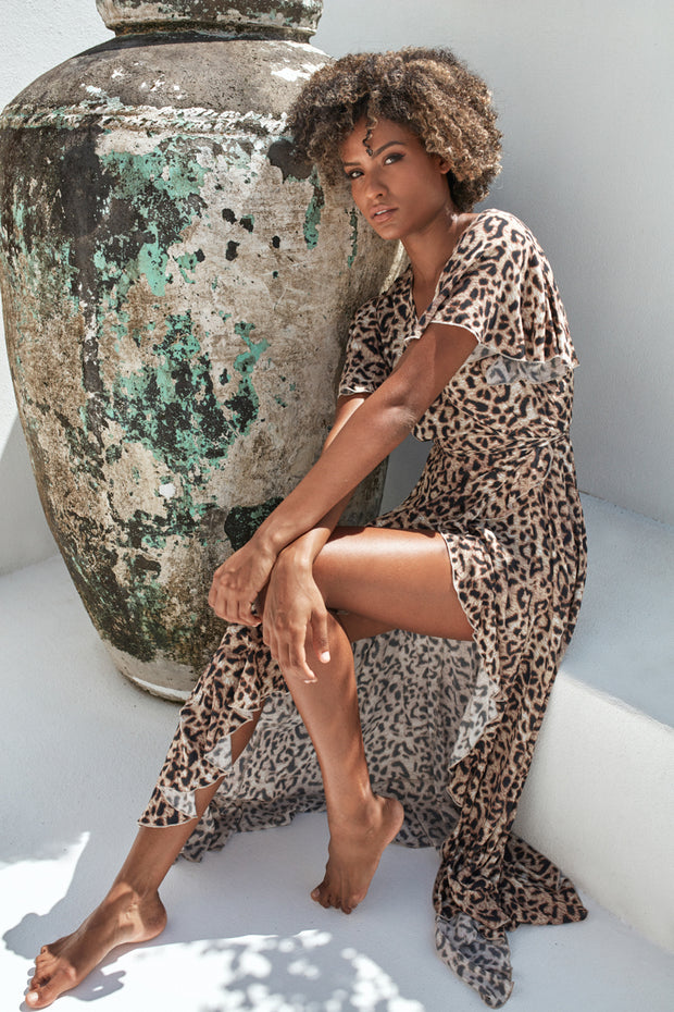 Savannah Wrap Dress Leopard