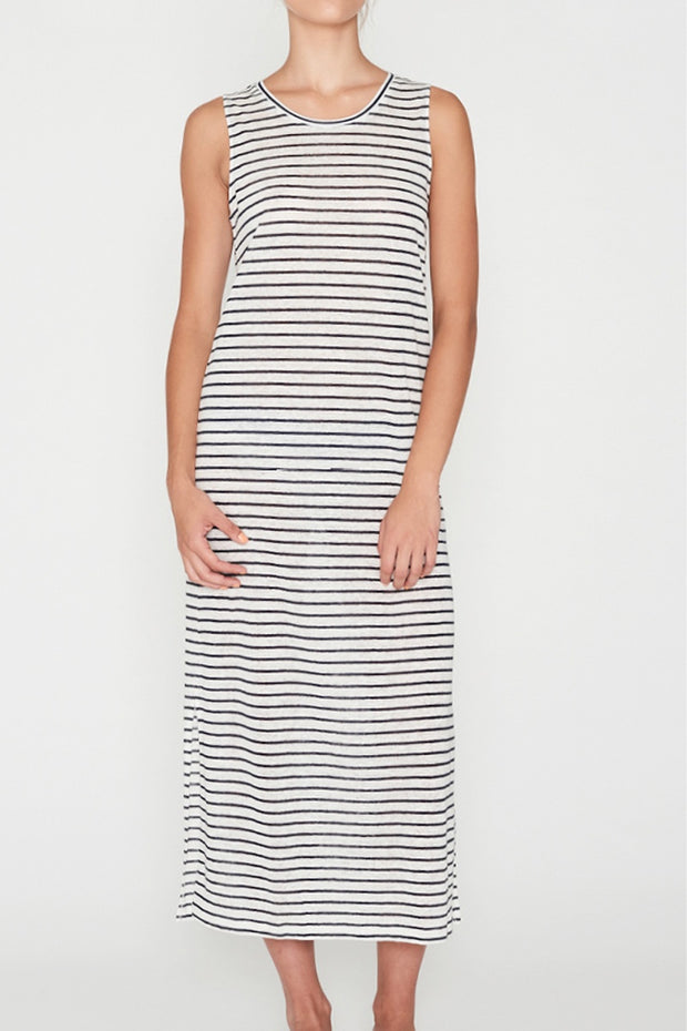 Linen Dress Navy Stripe
