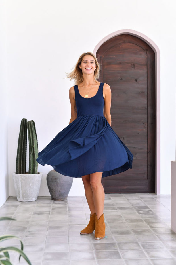 Sleeveless Goddess Mini Dress Navy