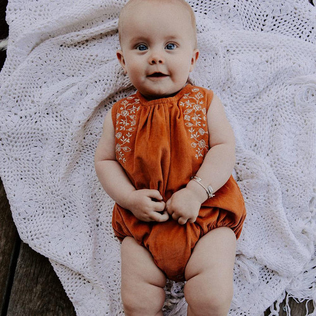 Embroidered Cord Romper