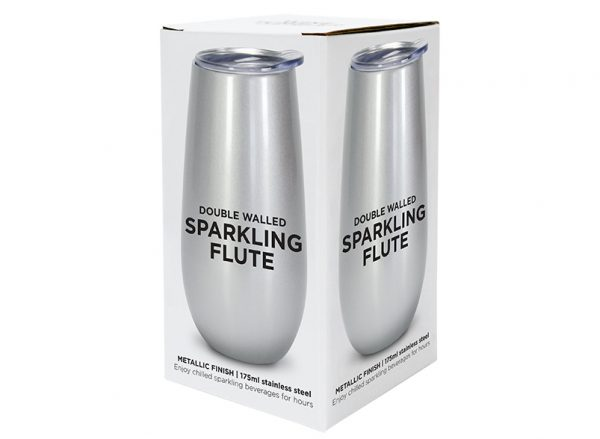 Sparkling Flute - Double Walled - Stainless Steel - Silver