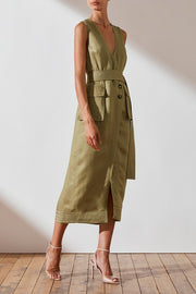 Ellington Wrap Midi Dress with D Ring - Olive