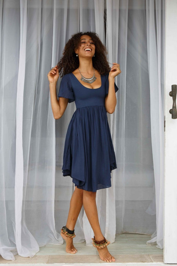 Goddess Mini Dress Navy