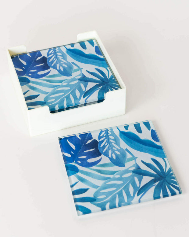 Glass Coaster - Fan Palm Leaves Blue B