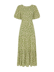Gianna Polka Tie Back Tiered Maxi Dress