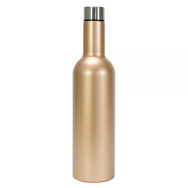 Wine Bottle - Double Walled - Stainless Steel - Gold